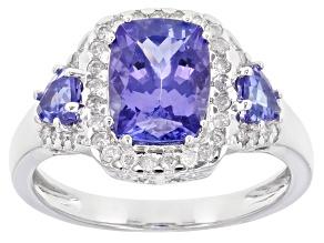 Blue Tanzanite And White Diamond Platinum Ring 2.95ctw