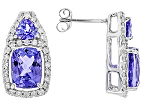 Rectangular Cushion Tanzanite And Round White Diamond Platinum Earrings 3.66ctw.
