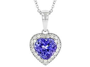 Blue Tanzanite Rhodium Over Platinum Pendant With Chain 2.42ctw