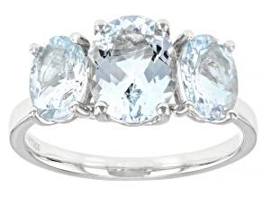 Blue Aquamarine Platinum 3-Stone Ring 2.50ctw