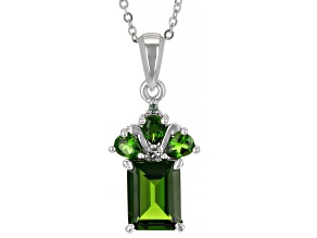 Green Chrome Diopside With Green Diamond Platinum Pendant With Chain 2.47ctw