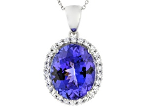 Blue Tanzanite Platinum Pendant With Chain 3.75ctw