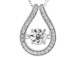 White Zircon Platinum Pendant With Chain 1.22ctw