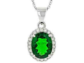 Green Chrome Diopside With Round White Diamond Platinum Pendant With Chain 2.54ctw