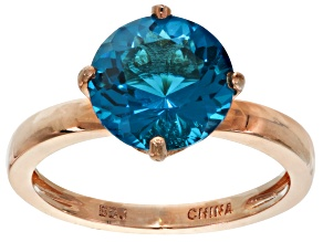 Blue Lab Created Zandrite Copper Ring 4.20ctw