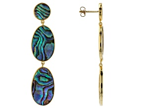 Abalone Shell 18k Yellow Gold Over Sterling Silver Earrings