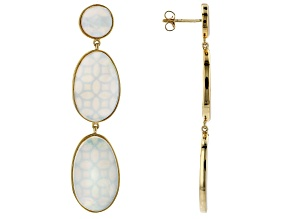 White Mother-of-Pearl 18k Yellow Gold Over Sterling Silver Earrings