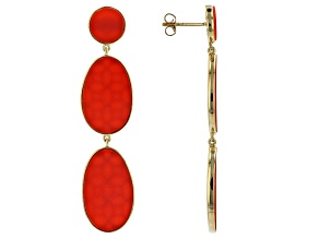 Red Coral 18k Yellow Gold Over Sterling Silver Earrings