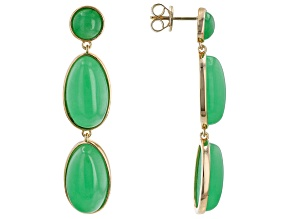 Green Jadeite 18k Yellow Gold Over Sterling Silver Earrings