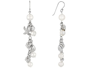 White Cultured Freshwater Pearl Rhodium Over Brass Drop Earrings