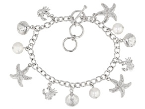 White Cultured Freshwater Pearl Rhodium Over Brass Charm Bracelet