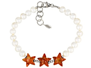 Red Sponge Coral & Mother-of-Pearl Rhodium Over Sterling Silver Star Bracelet