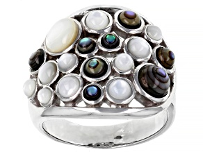 Mother-of-Pearl & Abalone Shell Rhodium Over Brass Cluster Ring