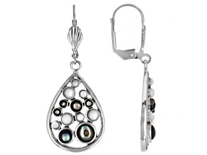 Mother-of-Pearl & Abalone Shell Rhodium Over Brass Earrings