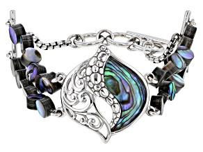 Abalone Shell Rhodium Over Brass Multi-Row Bracelet
