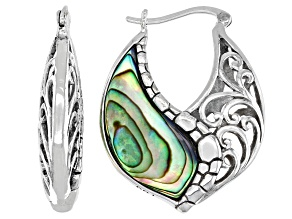 Abalone Shell With Swirl Design Rhodium Over Brass Earrings