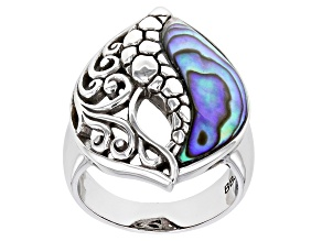 Abalone Shell Rhodium Over Brass Ring