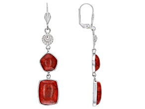 Red Sponge Coral Rhodium Over Brass Shell Design Earrings