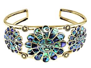 Abalone Shell Brass Cuff Bracelet