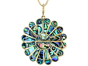"""Abalone Shell Brass Pendant With 18"""" Chain"""
