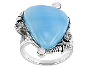 Chalcedony & Rainbow Moonstone Sterling Silver Ring