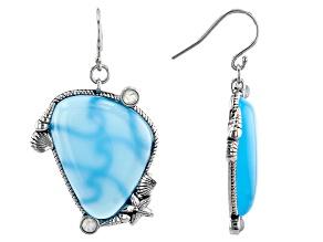 Chalcedony & Rainbow Moonstone Sterling Silver Earrings