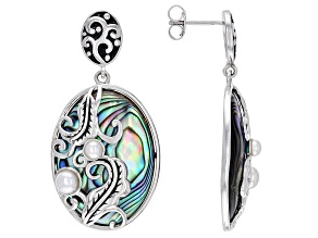 Multi Color Abalone Shell & Cultured Freshwater Pearl Sterling Silver Feather Design Earrings