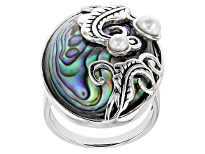 Multi Color Abalone Shell & Cultured Freshwater Pearl Sterling Silver Feather Design Ring