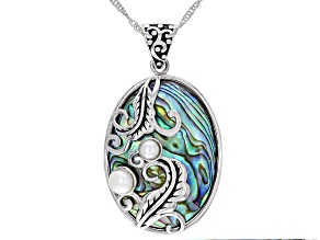 "Multi Color Abalone Shell & Cultured Freshwater Pearl Sterling Silver Pendant With 18"" Chain"