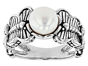 Cultured Freshwater Pearl Rhodium Over Brass Butterfly Ring