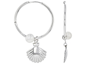 Cultured Freshwater Pearl Rhodium Over Brass Hoop With Seashell Charm Earrings