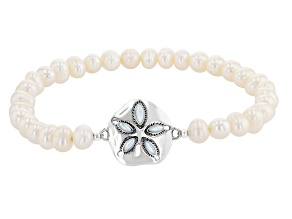 Mother-Of-Pearl &  Cultured Freshwater Pearl Sterling Silver Stretch Bracelet