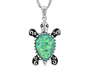 "Opal Silver Pendant W/18"" chain"