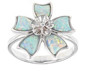 Lab Created White Opal Rhodium Over Silver Flower Ring