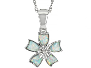 """Lab Created White Opal Rhodium Over Silver Flower Pendant With 18"""" Chain"""