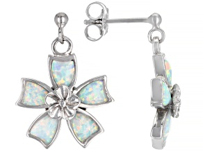 Lab Created White Opal Rhodium Over Silver Flower Earrings
