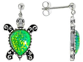 Opal  Sterling Silver Turtle Earrings