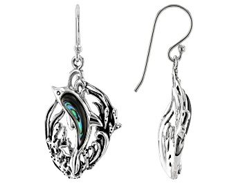 Picture of Abalone Shell Sterling Silver Dolphin Earrings