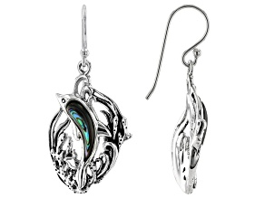 Abalone Shell Sterling Silver Dolphin Earrings