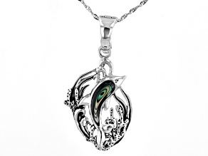 """Abalone Shell Sterling Silver Dolphin Pendant With 18"""" Chain"""