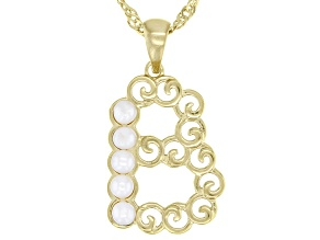 """White Mother-of- Pearl """"B"""" Initial 18K Yellow Gold Over Brass Pendant With Chain"""