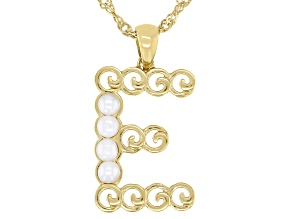 """White Mother-of- Pearl """"E"""" Initial 18K Yellow Gold Over Brass Pendant With Chain"""