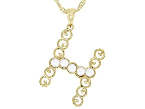 """White Mother-of- Pearl """"H"""" Initial 18K Yellow Gold Over Brass Pendant With Chain"""