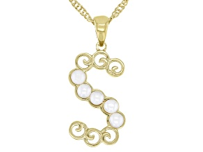 """White Mother-of- Pearl """"S"""" Initial 18K Yellow Gold Over Brass Pendant With Chain"""