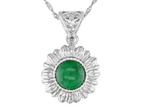 "Round Green Jadeite Rhodium Over Sterling Silver Flower Pendant With 18"" Chain"