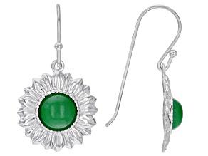 Round Green Jadeite Rhodium Over Sterling Silver Flower Earrings