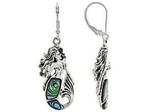 Abalone Shell Rhodium Over Sterling Silver Mermaid Earrings