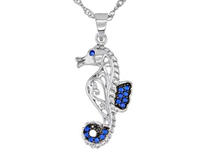 """Blue Lab Created Spinel Rhodium Over Silver Seahorse Pendant With 18"""" Chain 0.16ctw"""