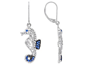 Blue Lab Created Spinel Rhodium Over Silver Seahorse Earrings 0.30ctw