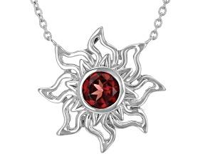 "Red Vermelho Garnet (TM)Rhodium Over Silver ""January Birthstone""  Necklace"